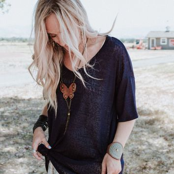Summer Breeze Tunic Top - Navy