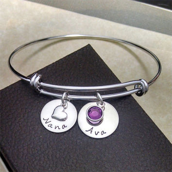 Adjustable Silver Bangle, Nana Bracelet, Name Bracelet, Birthstone Jewelry, Expandable Bangle, Alex and Ani Style Bracelet