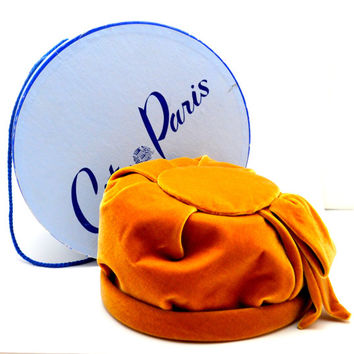Incredible Vintage City of Paris Hat with Original Hat Box, Amber Velvet Cloche Hat, circa 1940s-1950s