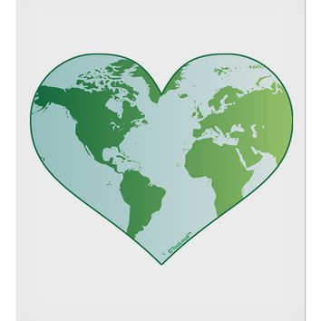 "World Globe Heart 9 x 10.5"" Rectangular Static Wall Cling"