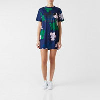 """Adidas"" Retro Multicolor Letter Flower Print Round Neck Short Sleeve T-shirt Mini Dress"