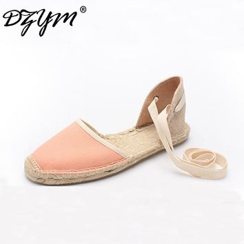 DZYM 2018 New Classic Bowtie Canvas Espadrille Women Ballet Flats Elastic Band Straw Linen Shoes Stripe Gingham Zapatos Mujer