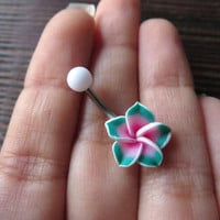 Belly Button Ring Jewelry. Pink Green Hawaiian Flower Plumeria Belly Button Ring Hawaii Navel Stud Bar Piercing Pink Tropical Hibiscus