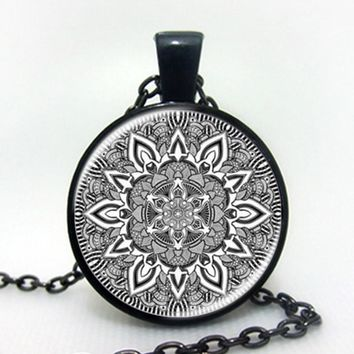 Namel mandala flower necklaces charm henna yoga pendant handmade necklace India style jewelry om symbol buddhism zen hot 2016 black