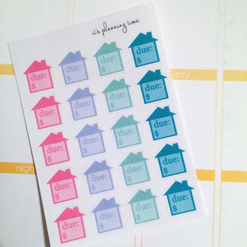 Small House Payment Due Planner Stickers- 20 count