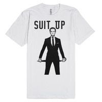 suit up-Unisex White T-Shirt