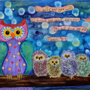 Whimsical Owls Psalm 91:4 Print of a Mixed Media Painting