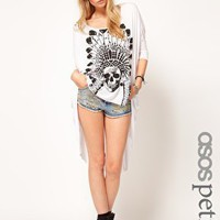ASOS PETITE Exclusive Dip Back Top With Feather Skull Print at asos.com