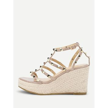 Rockstud Detail Woven Wedge Sandals