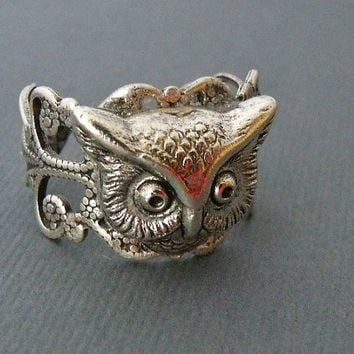 Antique Silver Adjustable Owl Head Ring