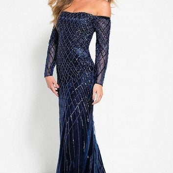 Jovani - 42830 Beaded Long Sleeve Off-Shoulder Evening Dress