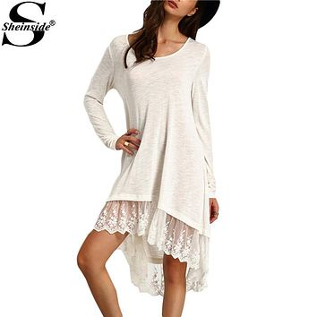 Sheinside Ladies Dresses Casual 2016 New Arrival Summer Style Long Sleeve Women White Lace Insert Hem High Low Dress