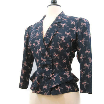 Vintage 80s does 40s Novelty Print Bows Rayon Navy Pink Karin Stevens Ruffle Peplum Jacket M