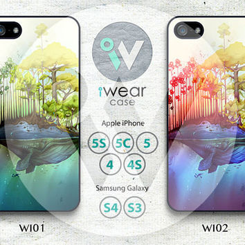 Whale Island iPhone 4 Case, iPhone 4/4s/4c Case, Whale iPhone 4 Hard Cases Rubber Case,Cover Skin iPhone Case4