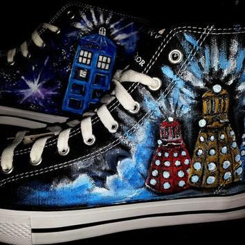 Doctor Who Shoes Handpainted Men's Size 10 Converse Daleks Tardis