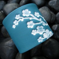 Dark turquoise cuff bracelet light pink Asian floral by theshagbag