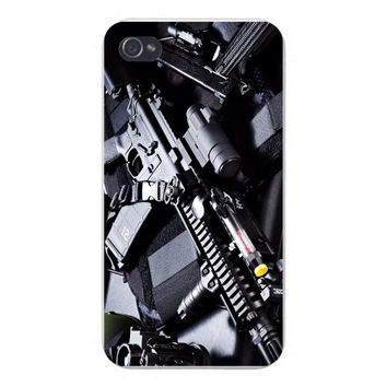 Apple Iphone Custom Case 4 4s Snap on - Assault Rifle Machine Gun w/ Other Equipment Scope Black