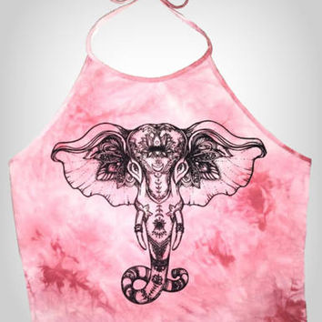 Pink Elephants Tie Dye Crop Top