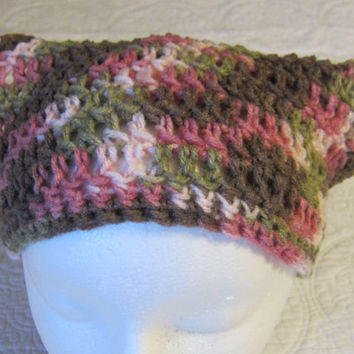 Crochet Head Kerchief or Bandana Adult Women's Sizes in Multi Pink,Green and Purple