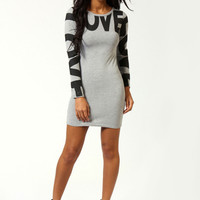 Hollie 'Love' Placement Print Bodycon Dress