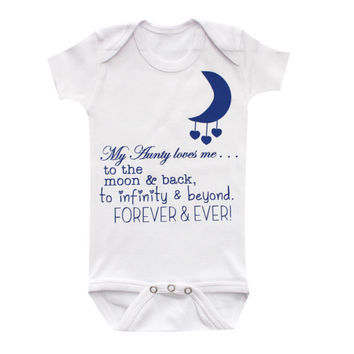 Aunt baby clothing, Aunty loves you to the moon and back, cute baby bodysuit, Funny baby tee, baby clothing, gift by BabyApparels.etsy.com