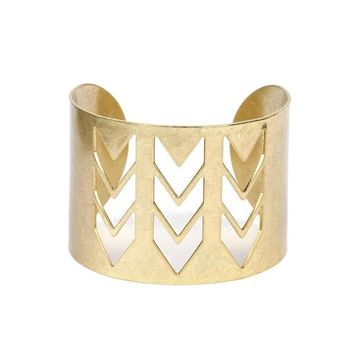 Gold Boho Cutout Arrow Cuff Bracelet