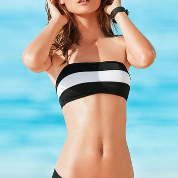 Traditional Black White Strips Push-ups Charming Bandeau Swimsuits