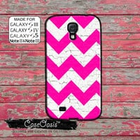 Pink Chevron Pattern White Wood Grain Cute Custom Galaxy S5 and S4 and S3 Case and Galaxy Note 2 and Note 3 Case