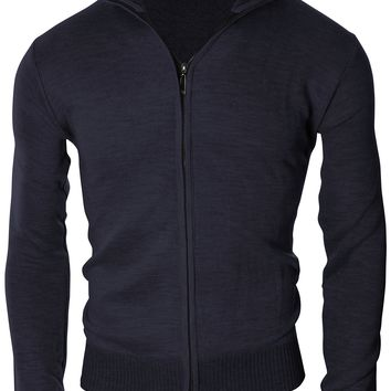 Enimay Men's Soft Casual Business Casual Full Zip Up Turtleneck Sweater Cardigan Navy Medium
