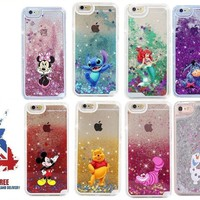 Disney Moving Glitter Liquid Phone Case Cover iPhone 6 7 8 X Plus Stitch Minnie
