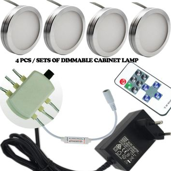 4pcs sets of Dimmable 12V DC 2.5W LED Under Cabinet Lighting Puck Light for Kitchen Counter LED Cabinet light