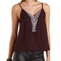 Beaded Chiffon Swing Tank Top by Charlotte Russe - Oxblood