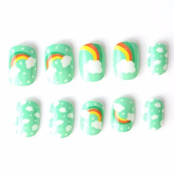 Pretty Rainbow Kit Fake Nails 10 Sizes 20 Pcs Green Blue Pre-glue Press on Fake Nails Tips for Little Girls