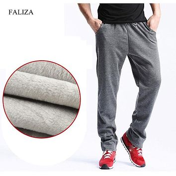 FALIZA 2018 New Mens Joggers Winter Thick Fleece Pants Men Straight Pants mirco velvet Sweatpants men joggers casual pants CK-D