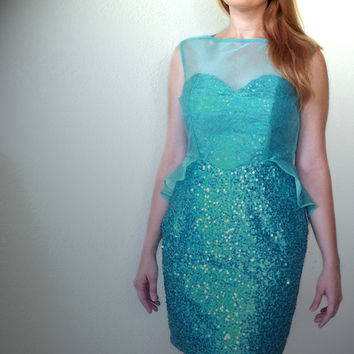"Formal Prom Homecoming Bridesmaid Blue Aqua Sequin Sheer Wiggle Dress Handmade by seWJen Designs Etsy - ""No Business Like Snow Business"""