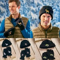 Men's Wildlife Embroidered Hat & Glove Set Warm Fleece / Sherpa Lined Hat