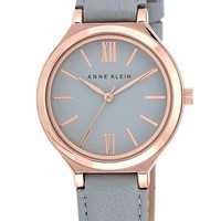 Women's Anne Klein Round Leather Strap Watch