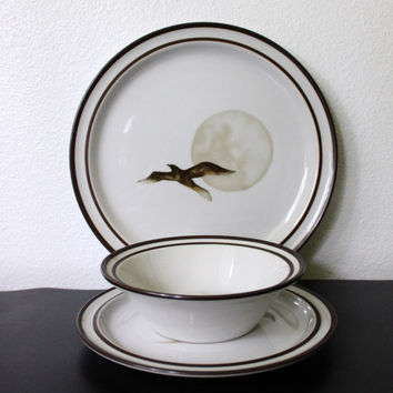 Vintage NORITAKE Stoneware Set Dinner plate Saucer Bowl Retro Nautical