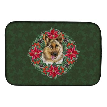 German Shepherd Poinsetta Wreath Dish Drying Mat CK1520DDM