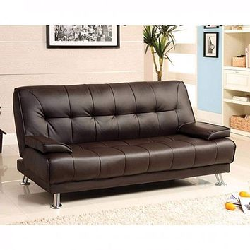 Leatherette Sofa Futon, Brown By Casagear Home