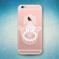 Hamsa Art Henna White Palm Eye Hand Print Flower See Through Clear Transparent Rubber Case for iPhone 6S Plus, 6 Plus, 6s, 6, 5s, 5, 5c, SE