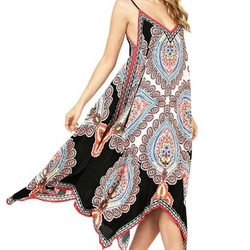 Paisley Point Midi Dress
