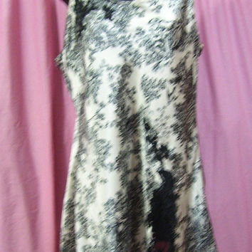 Satin Night Gown, Short Chemise, White Black, Toile Print, Victoria Secret, Size L Large, Bridal Honeymoon, Resort Cruise Wear