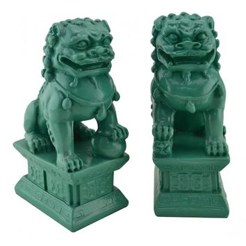 Chinese Contemporary Fu Temple Dogs Statue in Bue