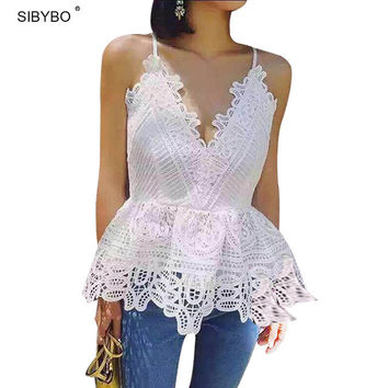 Julissa Mo Summer New Lace Crop Top Sexy Deep V Neck Sleeveless  Backless Cross Bandage Beach Party Fringe Lace Tops