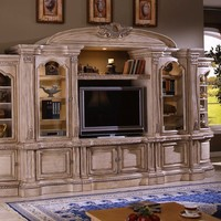6 pc antique white finish wood entertainment center wall unit with carved accents and bridge with crown carving