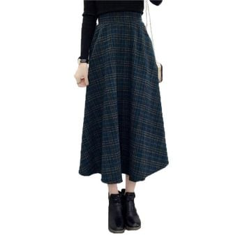 2017 Autumn Winter Woolen Plaid Skirts Plus Size A-Line Midi Wool Skirt Women Vintage High Waist Long Maxi Tutu Pleated Skirts