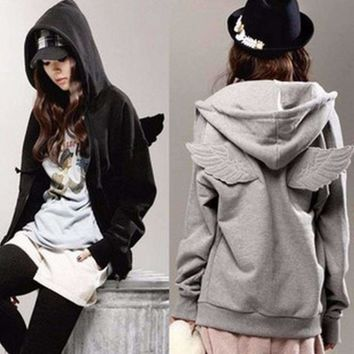 Cute Angel Wings Decorated Hoodie Jacket