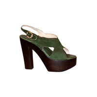 Distinctive 1970's Green Suede & Wood Platform Shoes