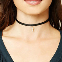 Faux Leather Cross Choker